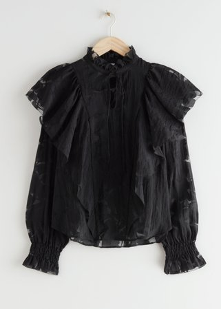 Ruffled Overlay Blouse - Black - Blouses - & Other Stories