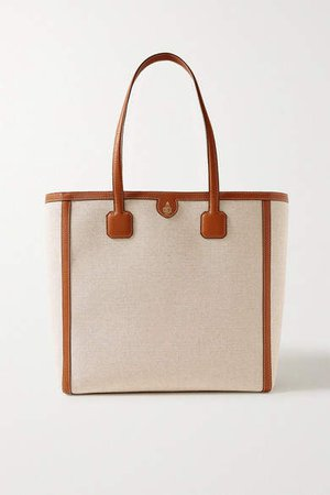 Antibes Textured Leather-trimmed Canvas Tote - Beige
