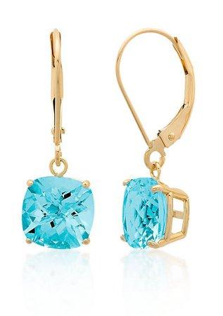 Belk & Co. 10k Yellow Gold Blue Topaz Earrings