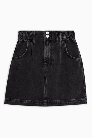 Washed Black Denim Paperbag Mini Skirt | Topshop