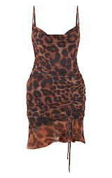 Brown Mesh Leopard Print Ruched Bodycon Dress | PrettyLittleThing USA