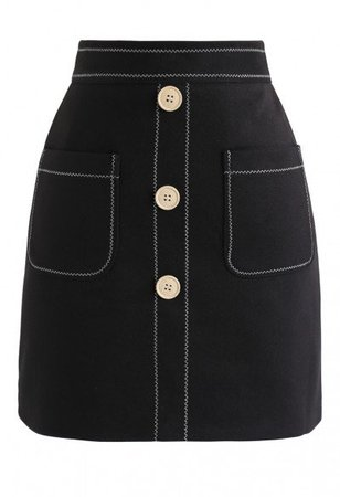 Belted Fake Pockets Mini Skirt in Brown - Skirt - BOTTOMS - Retro, Indie and Unique Fashion