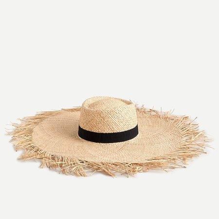 J.Crew: Wide Fringe Straw Hat For Women