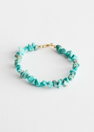 Stone Bead Pendant Bracelet - Turquoise - Bracelets - & Other Stories