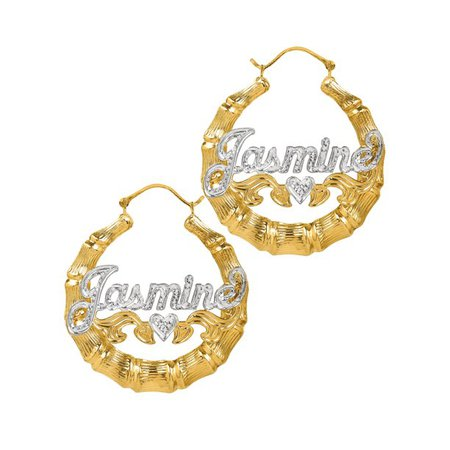 gold Jay Aimee Designs - Sterling Silver or Gold Plated Personalized Bamboo Style Hoop Name Earrings with Beading and Rhodium All Over The Name and Heart on Tail - Walmart.com - Walmart.com