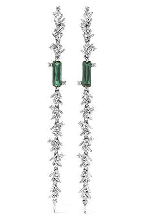 Suzanne Kalan | 18-karat white gold, diamond and tourmaline earrings | NET-A-PORTER.COM