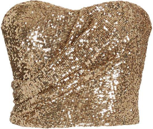 SemSem Draped Sequin-Embellished Strapless Bustier Top