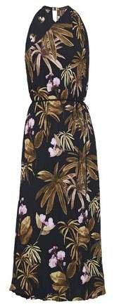 Belted Floral-print Plisse Crepe Midi Dress