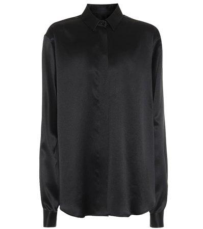 Silk-satin black shirt