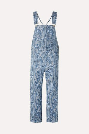 Denim-brocade Overalls - Blue