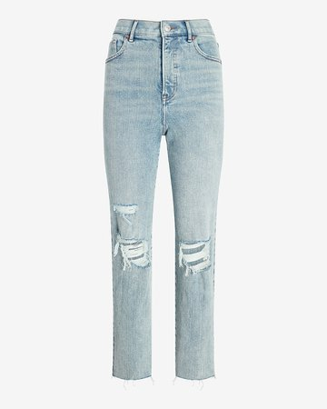Super High Waisted Ripped Raw Hem Mom Jeans | Express