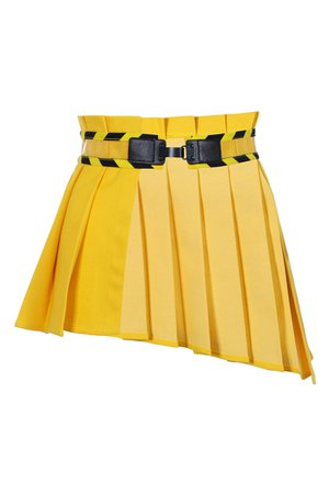 Yellow Asymmetrical Pleated Peplum Belt