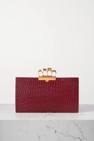 Four Ring Embellished Croc-effect Leather Clutch - Burgundy