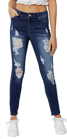 Muhadrs Women's Casual Mid Waisted Skinny Ripped Jeans Denim Pants 01 Dark Blue 8 at Amazon Women's Jeans store