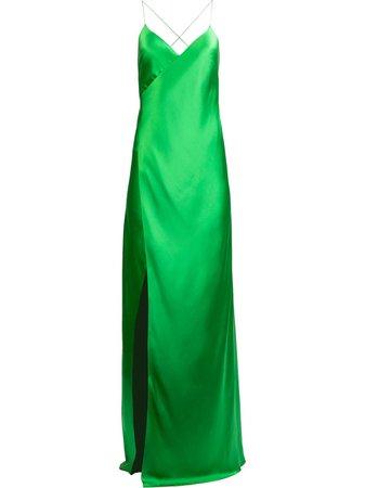 Michelle Mason cross-strap Silk Wrap Gown - Farfetch