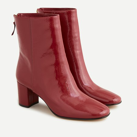 J.Crew: Willa Ankle Boots In Crinkle Patent Leather For Women