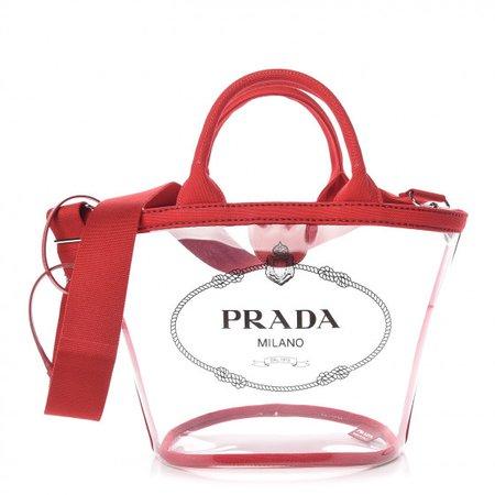 PRADA Plexiglass Hemp Small Canapa Shopper Tote Red 376035