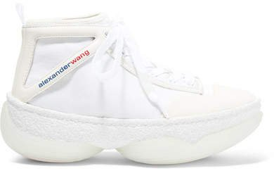 A1 Logo-print Leather-trimmed Mesh High-top Sneakers - White