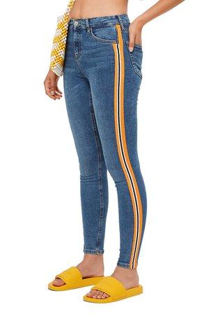 Topshop MOTO Jamie Side Stripe Jeans | Nordstrom