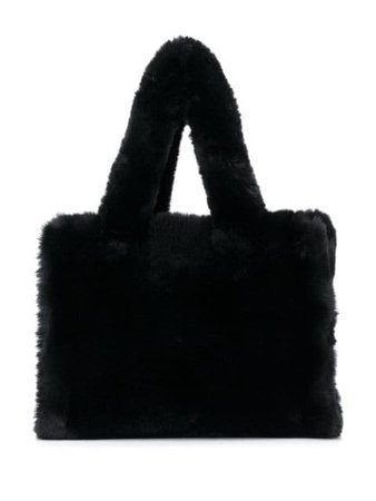 Shop black STAND STUDIO faux shearling tote bag with Express Delivery - Farfetch