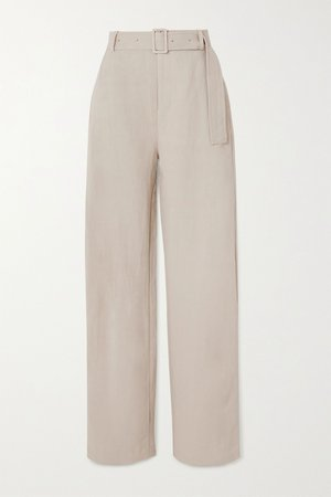 Taupe Belted woven wide-leg pants | Co | NET-A-PORTER