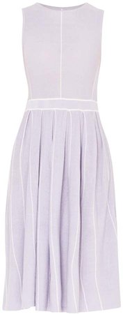 PAISIE - Knitted Dress With Stripe Details & Pleated Skirt In Lilac & White