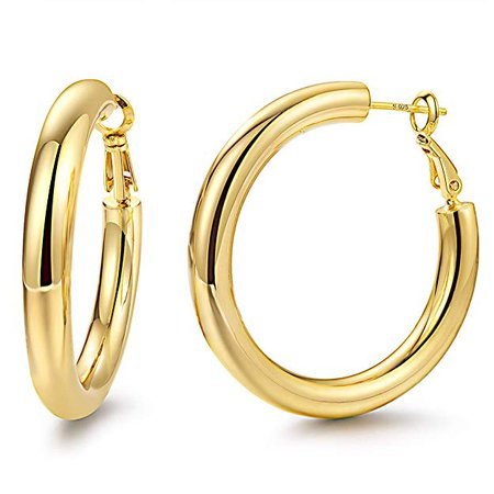 Amazon.com: Hoop Earrings 18K Rose Gold Plated 925 Sterling Silver Post 5MM Thick Tube Very Lightweight Hoops for Women And Girls: Yiba Tech