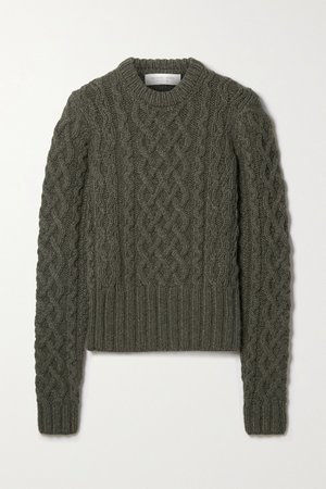 Army green Corallina cable-knit cashmere sweater | Michael Kors Collection | NET-A-PORTER