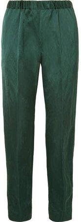 Crinkled-satin Slim-leg Pants - Green