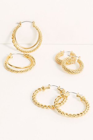 Gold Plated Hoop Earring Set | Free People