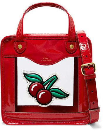 Cherries Rainy Day Small Appliquéd Patent-leather And Pvc Tote - Red