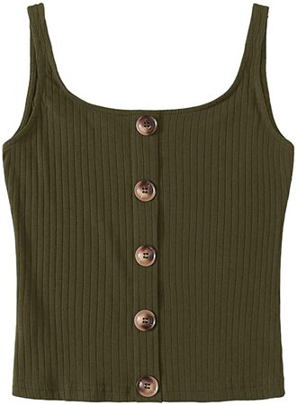 SweatyRocks Women's Sleeveless Vest Button Front Crop Tank Top Ribbed Knit Belly Shirt Army