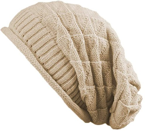 Jiuhong Women Knit Beanie Baggy Oversize Winter Warm Hat Soft Slouchy Beanie Skully Cap (Beige) at Amazon Women's Clothing store