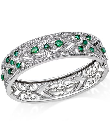 Macy's Sterling Silver Emerald Heart Bangle Bracelet