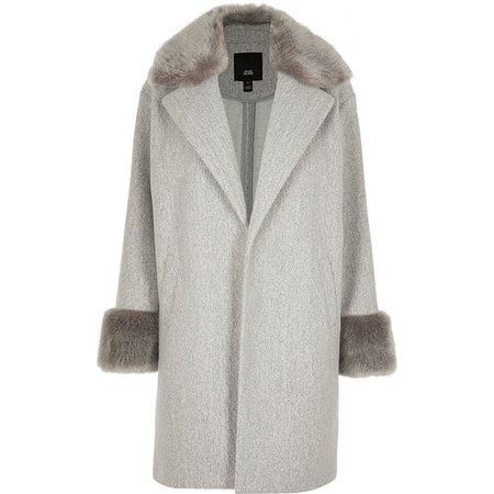 Grey faux fur collar coat | River Island