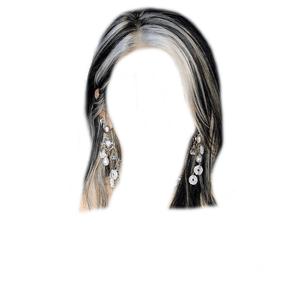 Short Dark Brown Hair BLACK Blonde Streaks PNG
