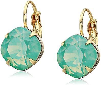 Sorrelli Pacific Opal Women's Cushion Cut French Wire Earrings, Blue-Green, 0.5