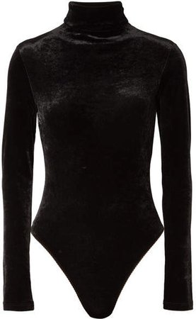 Unravel Project - Stretch-velour Turtleneck Bodysuit - Black