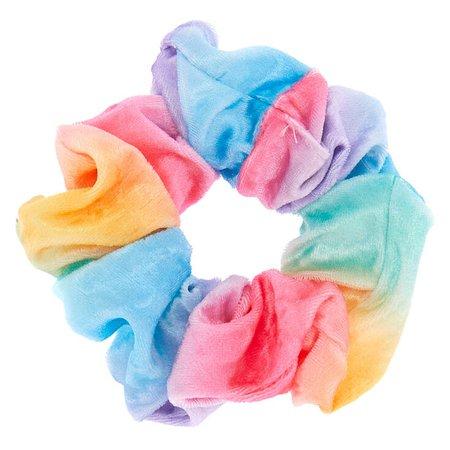 Pastel Rainbow Velvet Hair Scrunchie   Claire's US