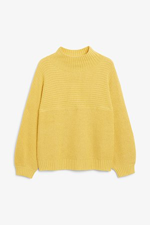Vertical knit sweater - Yellow - Jumpers - Monki WW