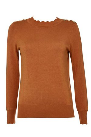 Petite Brown Scallop Neck Jumper - Knitwear - Clothing - Wallis US