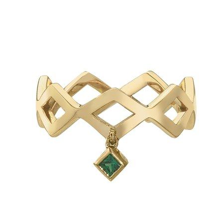 Lucia Dangle Band Ring with Princess Cut Tsavorite Green Garnet in 14k Yellow Gold by GiGi Ferranti