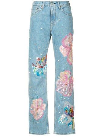 Romance Was Born Calça Jeans Reta 'Fertile Flower Jeans X Levis' - Farfetch