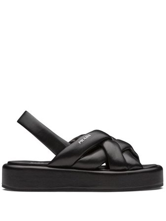 Shop black Prada woven flatform sandals with Express Delivery - Farfetch