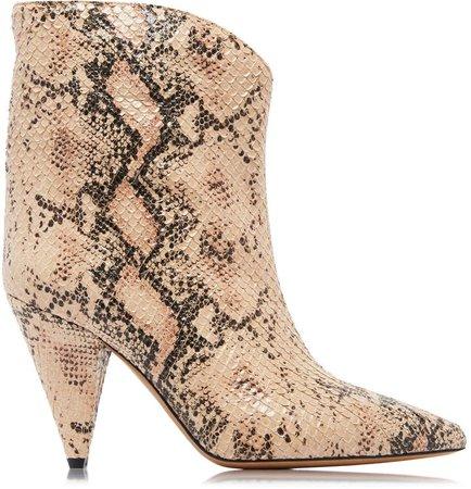 Leinne Snake-Embossed Boots