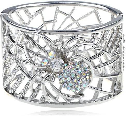 Alilang Womens Silvery Tone Filigree Clear Rhinestone Crystal Spider Web Witch Cuff Bangle Bracelet: Clothing
