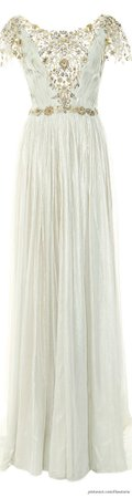 Pleated Silver Foil Chiffon Gown