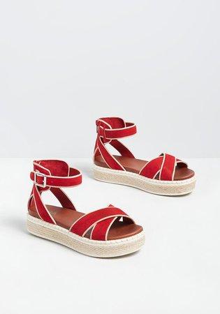 Going Again Flatform Sandal Red   ModCloth