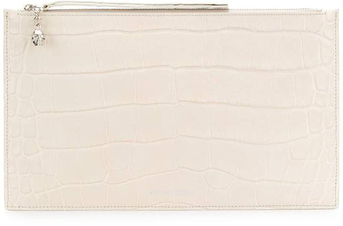 crocodile embossed clutch bag