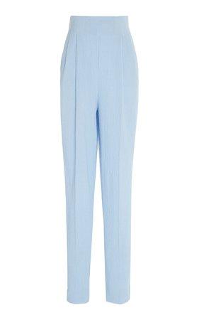 Emilia Wickstead Gus High-Waisted Cotton Seersucker Trousers